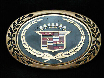 PC01106 VINTAGE 1970s **CADDY** AUTO CAR LOGO SOLID BRASS BELT BUCKLE
