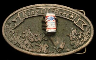 PK10180 TRULY AWESOME 1977 ***BUDWEISER BEER*** w/BEER CAN & HAND BELT BUCKLE