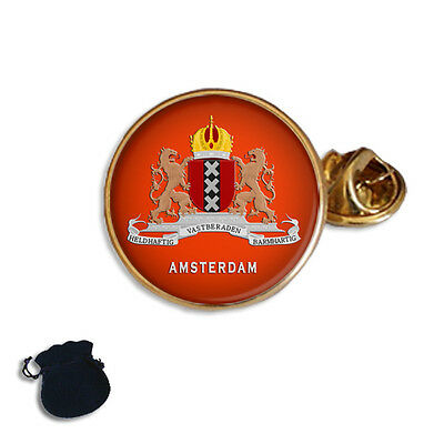 City Of Amsterdam Coat Of Arms Netherlands  Enamel Lapel Pin Badge Gift