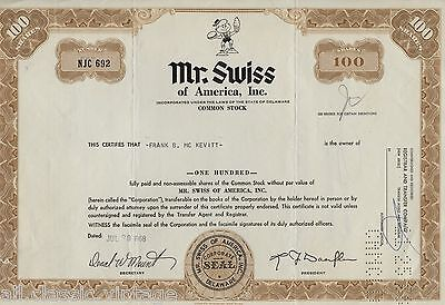 Inc Swiss of America Mr Stock Certificate