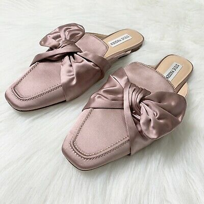 459c7f0cce4 Steve Madden Rose Gold Bow Satin Mules Flats Size 9.5