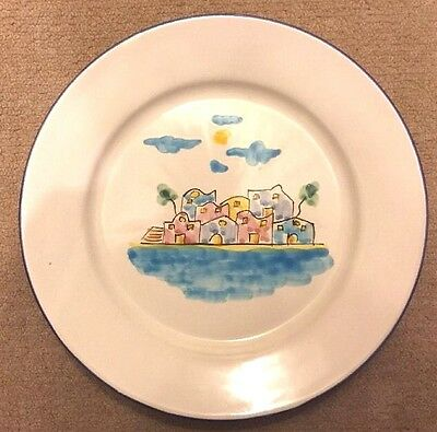 Vietri Pottery-10 Inch Plate D'amore Little House.Made/Painted by hand-ITALY