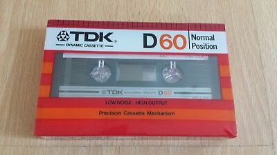 Sealed TDK D60 Normal Position Audio Cassette From 1982