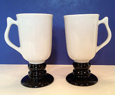 Pair of Two Vintage Hall China Black Ivory Parisian Footed Coffee Mugs 1272 USA