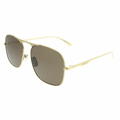 a64bed08250 New Authentic Gucci GG0335S 001 Gold Metal Aviator Sunglasses Brown Lens