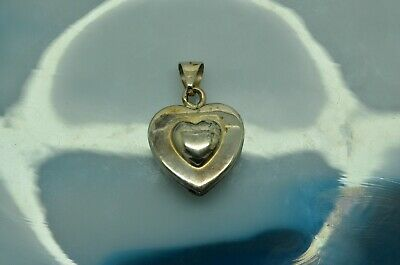 Puffed Heart ITALIAN 925 Sterling Silver Pendant Charm /_/_ All Sizes S M L