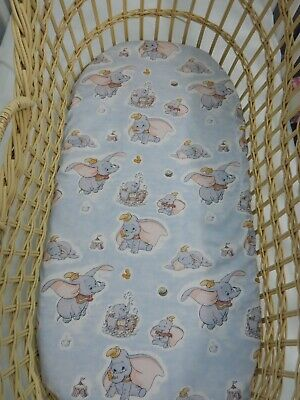 Dumbo Bassinet Fitted Sheet  100% Cotton Handmade FITS STANDARD BASSINET