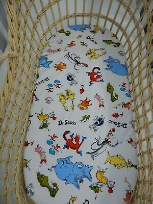 Bassinet Fitted Sheet Dr Seuss 100% Cotton Handmade FITS STANDARD BASSINET