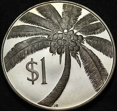 Samoa Dollar, 1974 Rare Silver Proof~Coconut Palm~Only 5,578 Minted~Free Ship