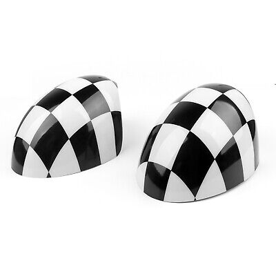 2x Checkered WING Mirror Covers Fit MINI Cooper R55 R56 R57 Power Fold Mirror T1