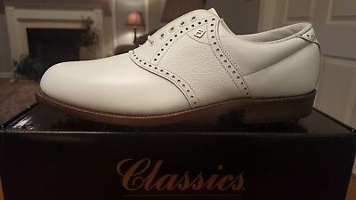 VINTAGE FOOTJOY CLASSICS ORIGINAL MENS GOLF SHOES 51706 NEW WH 10D Made In USA