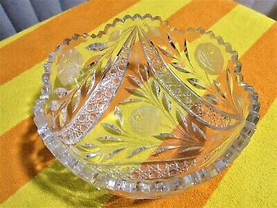 VTG Antique American Brilliant Etched Cut Glass Crystal Large Bowl Saw Tooth Rim
