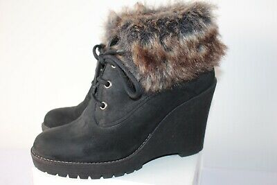 Duo Ladies Fab Black Leather Ankle Boots Wedge Heel Fur Trim Size 39