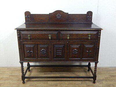 Antique carved oak sideboard buffet cabinet with two drawer/doors and splashback