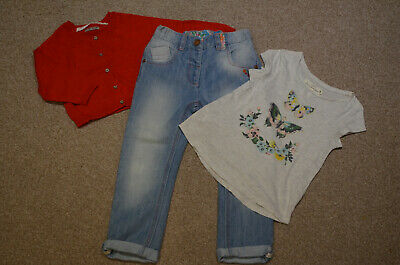 Cute H&M Girls Top Size 4-6 Years and NEXT Cardigan Jeans Size 4-5 Years Outfit