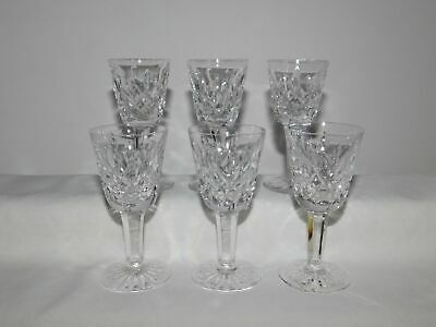 6 Stamped Waterford Crystal Lismore Cordial Stems Glasses
