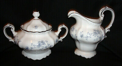 Vintage Johann Haviland Bavaria Germany Blue Garland Creamer & Sugar Bowl w/Lid