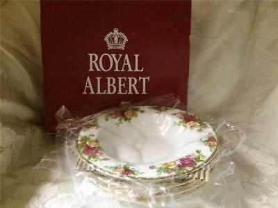 Royal Albert Old Country Roses set of 4 Soup Bowls with rim, new in box
