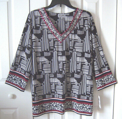 66d92bb3019 JM Collection women's tunic size 1X embellished black white red 3/4 sleeve  NWT