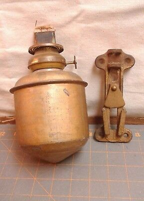 Oil Lamp Plume and Atwood Metal Font with Brass Burner and Bracket Antique