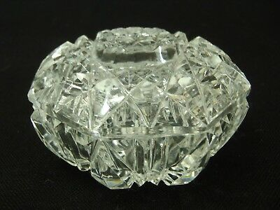 """ANTIQUE EAPG Crystal Glass VANITY POWDER BOX Measures: 3.5"""" across and 2"""" tall"""