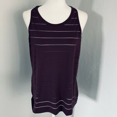 6a2850924f Athleta Women's Stripe Mesh High Neck Chi Tank Purple Size Large EUC  Athleisure