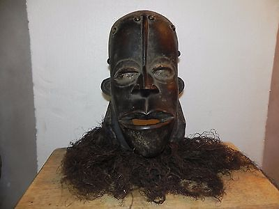 "Arts of Africa - Bete Mask with Studs and Beard - Cote d'Ivoire - 15"" Height x 7"