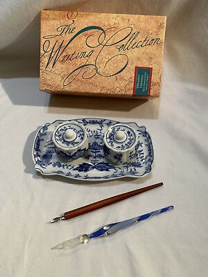 Authentic Models The Writing Collection 'Meissen' Inkwells Tray Glass Pen