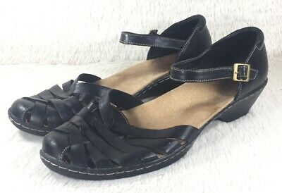 6f81dce6bc8 Clarks Bendables Wendy Sandals Womens Black Leather Fisherman Ankle Strap  Sz 10