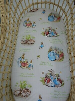 Bassinet Fitted Sheet Peter Rabbit 100% Cotton Handmade FITS STANDARD BASSINET