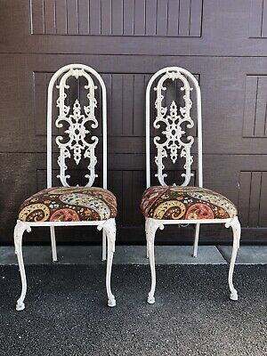 Antique Wrought Iron Chairs Tall Back New Seats Painted White