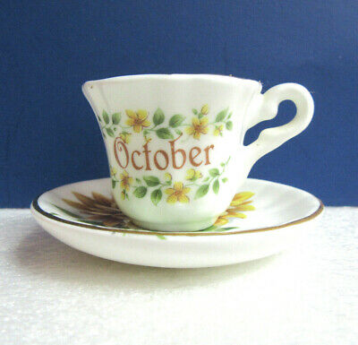 ANTIQUE CHINA TEA CUP & SAUCER by CHELSON Floral Rust Cobalt
