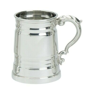 Pewter 1pt Worcester Glass Bottom Tankard