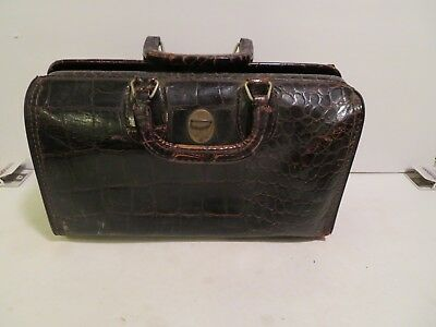 Vintage alligator Doctor's Bag, Homa  swiss  # 1254   14 x 8 x 6 inches