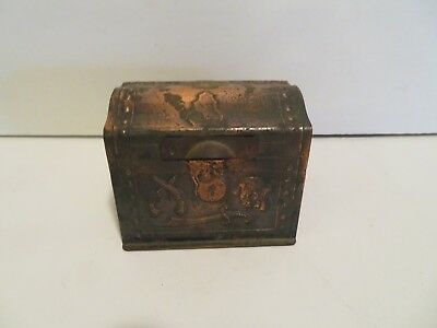 Vintage Rare Copper Pirate Treasure Chest Toy Coin Box Bank Mystery Draw