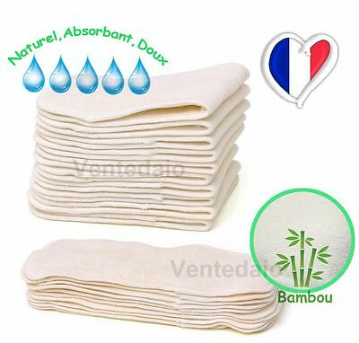 Lot 5 Inserts Lining Bamboo for Layers Washable Change Baby Natural Soft