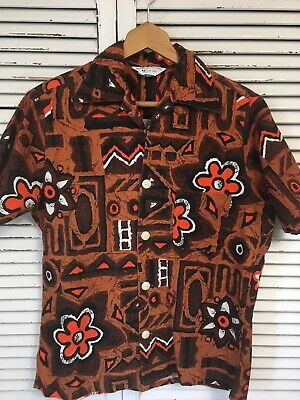 f5bfc1d3 Vtg 1960-70's JC Penney 100% Cotton Barkcloth Hawaiian Tiki Shirt USA Men's  Med