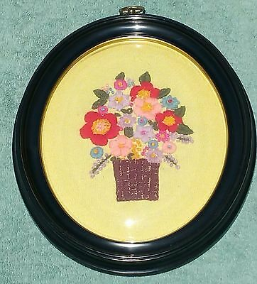 """Vintage Domed Glass Floral Crewel Embroidered Framed Convex Bubble 10 x 12"""""""