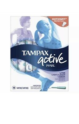 Tampax Pearl Active Tampons Light -Unscented,18 CT