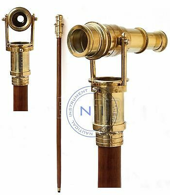 Wooden Walking Stick Brass Telescope Handle Foldabel Cane Dismantle In To 3