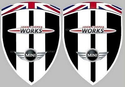 2 autocollants stickers MINI JOHN COOPER WORKS JCW MIDNIGHT BLACK (ailes avant)