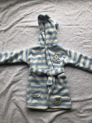Baby Boys Girls Blue & White Pooh Bear Hooded Dressing Gown Age 9-12 Months