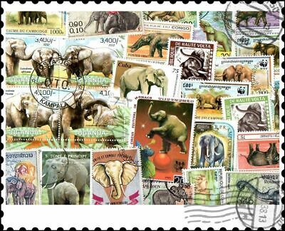 Elephants : 25 Different Stamps Collection