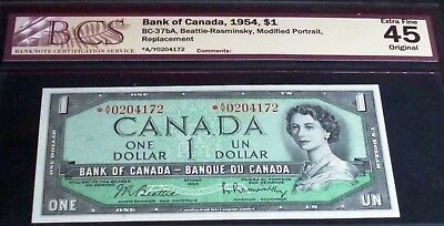 Replacement Star, Asterisk Banknote -  Bank Of Canada.1954 $1 Bcs 45