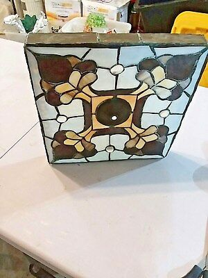 Vintage Mission Arts Crafts Stained Leaded Glass lamp light shade Tiffany Style