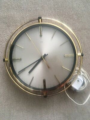 Vintage Original Retro 1960s 70s GoldMetamec Electric Wall Clock ~ Fully Working