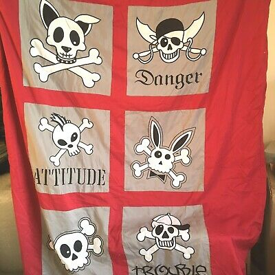 "Pirate Attitude Trouble Single Duvet Cover Red Button Fastening 78"" x 52"""