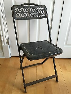Scarce Antique Corduan Mfg Company Metal Folding Chair Industrial Steampunk