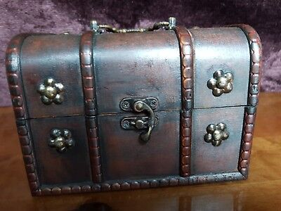 Rustic Wooden Colonial Style Trunk Treasure Chest Vintage studded Storage Box