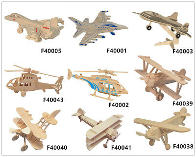 Puzzles & Geduldspiele Childs Assembly DIY Spielzeug 3D Holz Form Puzzles Of Fighter Planes